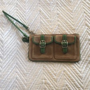 Coach Suede wristlet with leather piping